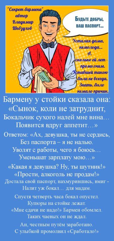 Владимир Шебзухов «Секрет бармена» читает автор
